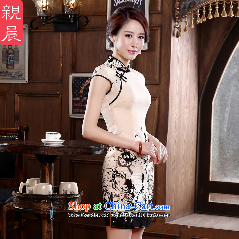 The pro-am 2015 spring day-to-day short of Sau San improvements retro style short-sleeved girls cotton linen cheongsam dress short,?2XL