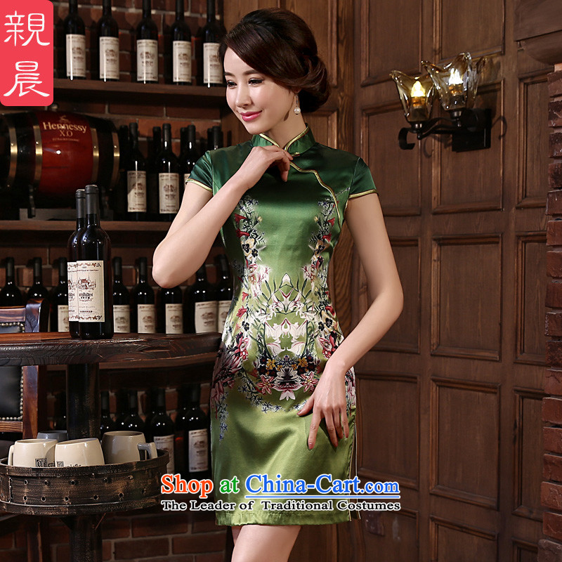 The pro-am daily new 2015 silk cheongsam dress spring and summer load retro herbs extract cheongsam dress improved stylish green聽S