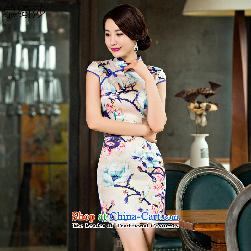 The cross-sa Kapok Arabic daily improved cheongsam dress retro cheongsam dress summer new cheongsam dress燪D 245 2XL