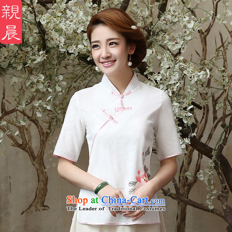At 2015 new pro-summer retro improved stylish short of daily cotton linen flax Ms. qipao shirt shirts Sau San�L