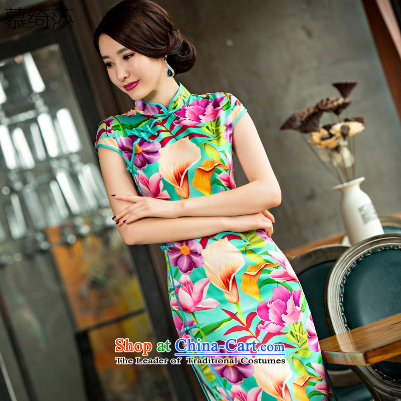 The cross-sa?2015 new qipao neon summer short-sleeved dresses, day-to-day long thin cheongsam dress improved graphics and stylish?QD 246?suit?S