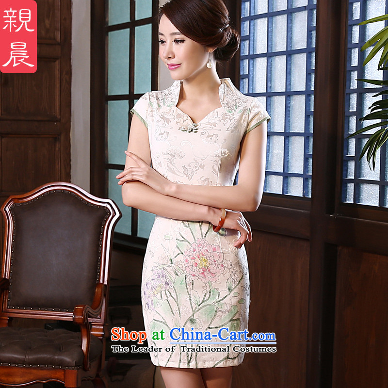 The pro-am 2015 Spring Summer short of Sau San improvements daily fashion cotton linen short-sleeved retro cheongsam dress short, L