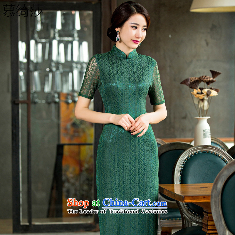 The cross-sa population in Arabic Green�15 improved retro cheongsam dress lace cheongsam dress autumn load long cheongsam dress elegant燪D 249燗rmy green燣