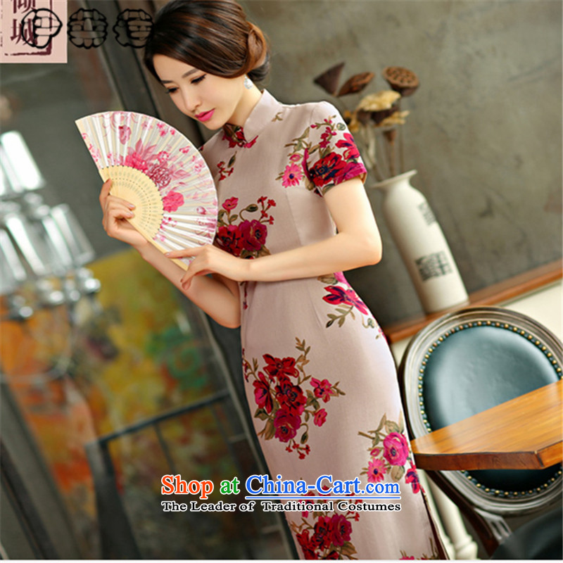 Hirlet summer 2015, Ephraim retro improved national wind in cotton linen Long of the forklift truck qipao linen arts women, the Republic of Korea wind cheongsam dress full round-�XL