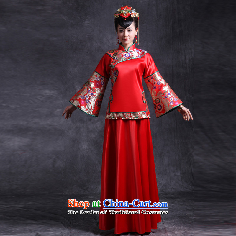 Sau Wo Saga Soo Wo Service retro Chinese Wedding dress-hi-bride dress Tang Dynasty Show kimono gown clothes set of marriage bows + model with head ornaments?of the XS