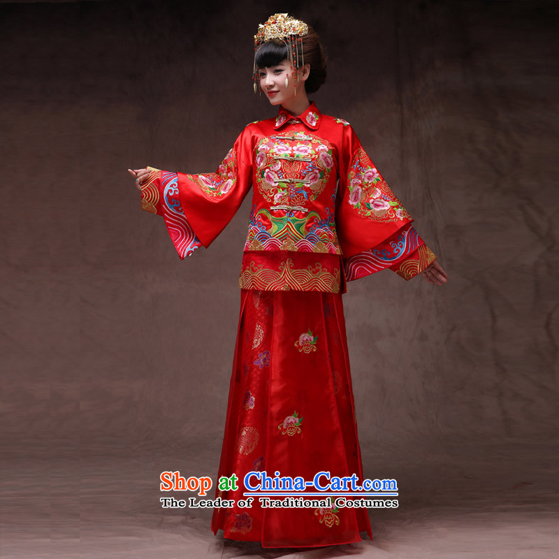Sau Wo Saga Soo Wo Service retro-soo Wo Service brides Chinese wedding dress uniform red dragon qipao bows should start with the spring and summer wedding dress clothes, a model with + head ornaments�of the XS