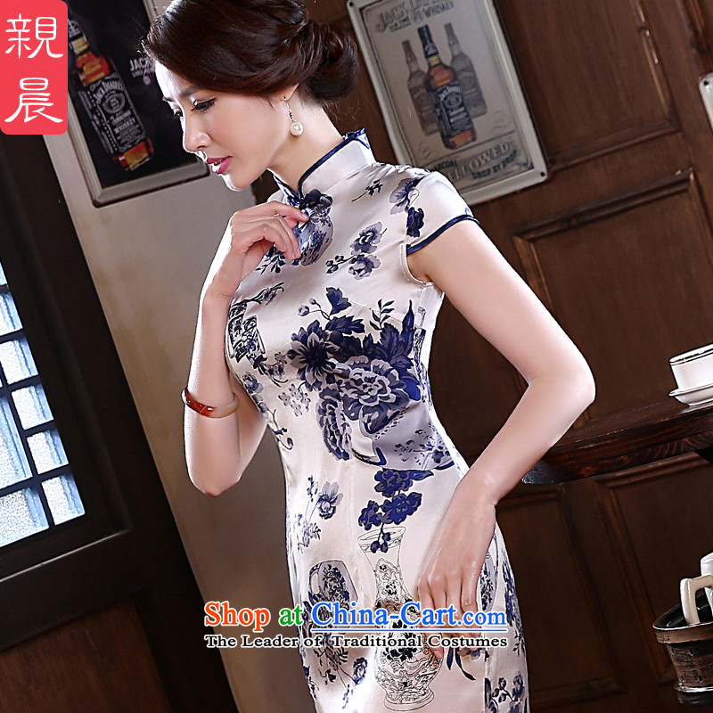 At 2015 new parent cheongsam dress summer short of Stylish retro improved porcelain heavyweight silk female herbs extract short_?3XL