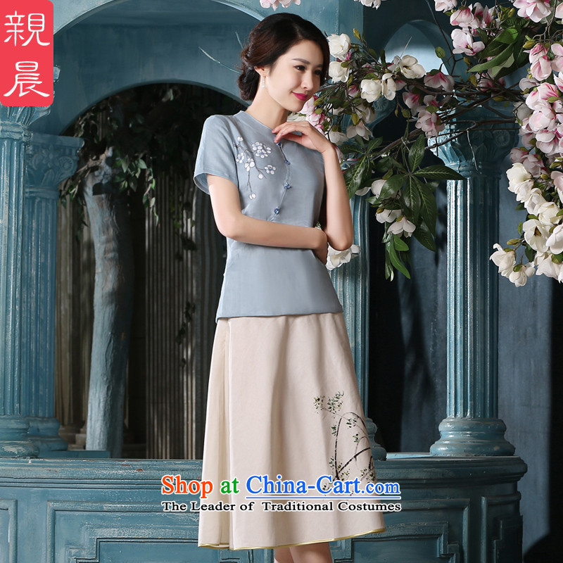 At 2015 new pro-summer daily improvements qipao hand-painted with Han-tang female Chinese national Wind Jacket coat +P0011 cotton linen dress?XL