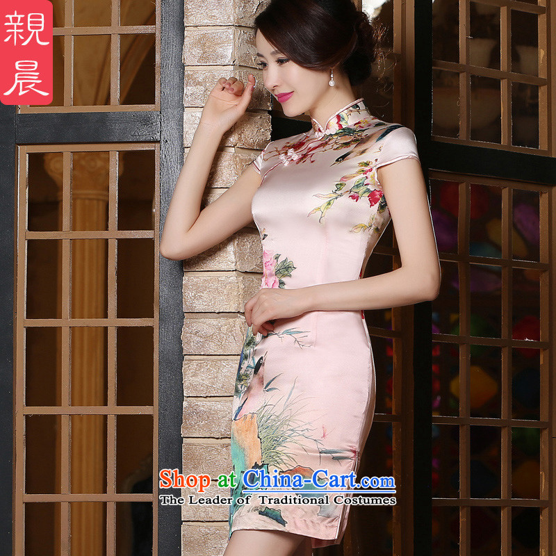 At 2015 new pro-silk decorated in antique improvements summer daily short of modern sauna Silk Cheongsam Dress Short燤