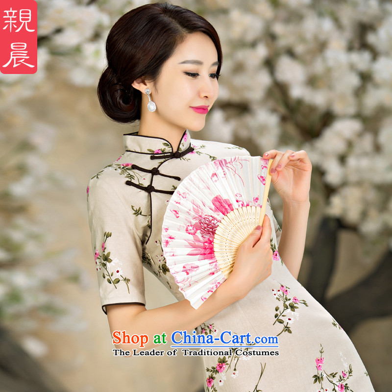 At 2015 new pro-improved Stylish retro fitted the summer and fall of Qipao Ms. daily short of cotton linen dresses short,�L