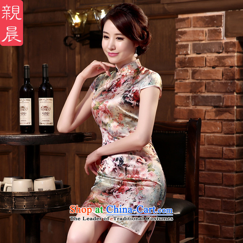 At 2015 new parent cheongsam dress summer retro herbs extract routine silk girls improved stylish short,?2XL