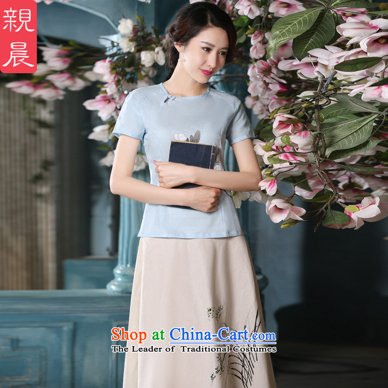 The new 2015 pro-am summer daily improved stylish short skirts retro cotton linen short-sleeved T-shirt qipao literary women clothes +P0011 skirt?L