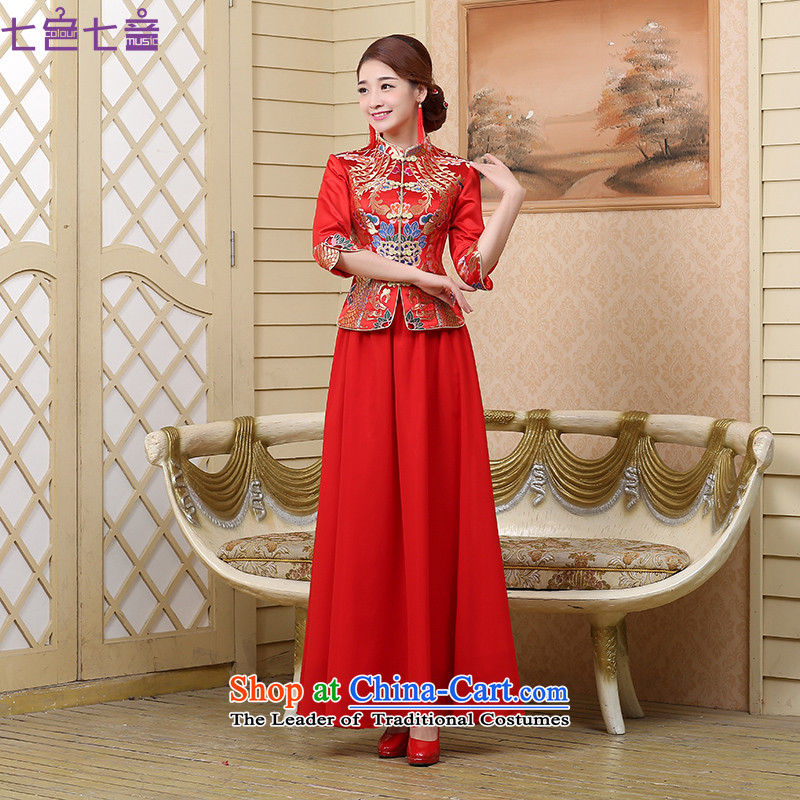 The bride bows Services Mr Ronald II Kit 2015 new wedding dress cheongsam long Dragon Chinese use improved retro qipao?Q007?RED?L