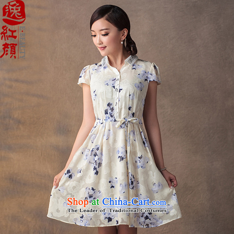 A Pinwheel Without Wind Yin levy qipao Yat skirt Summer 2015 new improved Sau San retro chiffon stamp ethnic dresses Duck Decoys Wong燲L