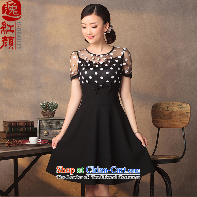 A Pinwheel Without Wind small butterfly qipao Yat skirt 2015 Summer improved stylish ethnic gauze wave point Sau San dresses black?S