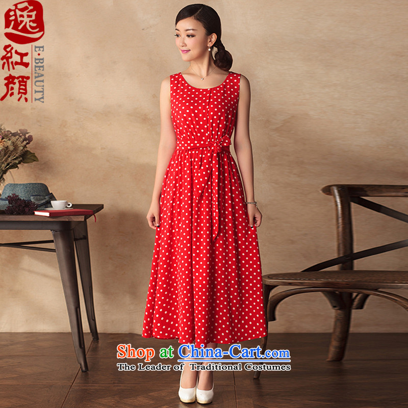 A Pinwheel Without Wind Yat Sing cheongsam dress 2015 summer long skirt chiffon wave point sleeveless Sau San round-neck collar long skirt red聽S