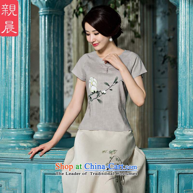 The pro-am daily new 2015 CHINESE CHEONGSAM shirt girls retro summer improved stylish cotton linen cheongsam dress shirt +P0011 skirt聽S