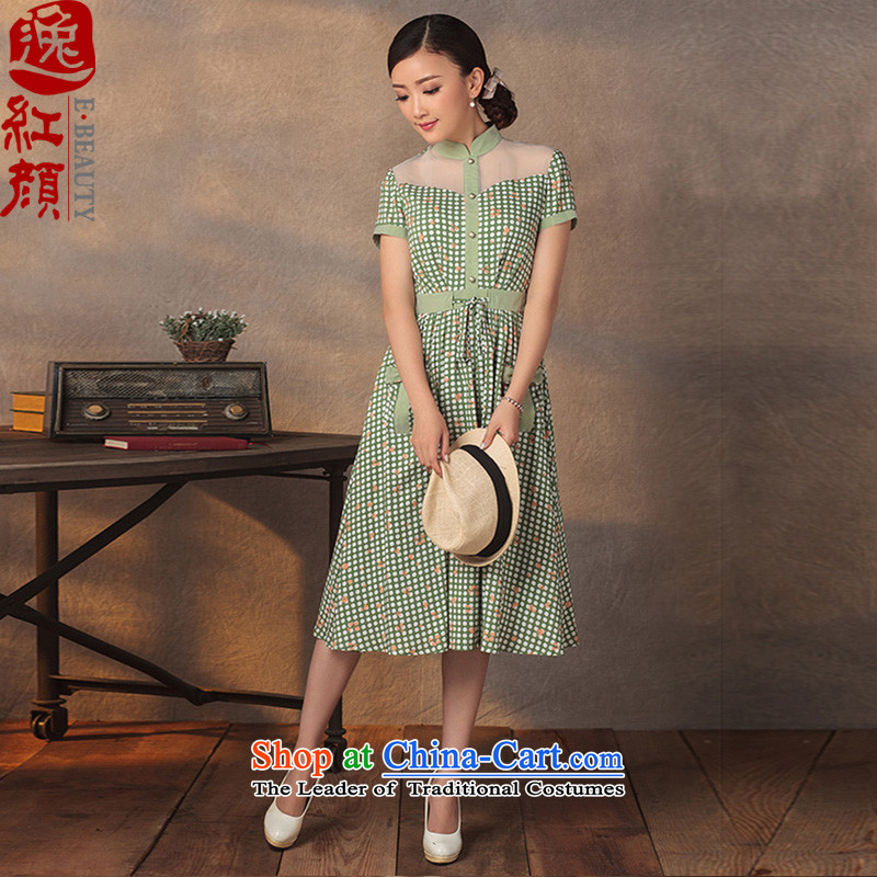 A Pinwheel Without Wind summer escape Yat dresses Summer 2015 new retro improved Sau San dot ethnic cheongsam dress water green?M