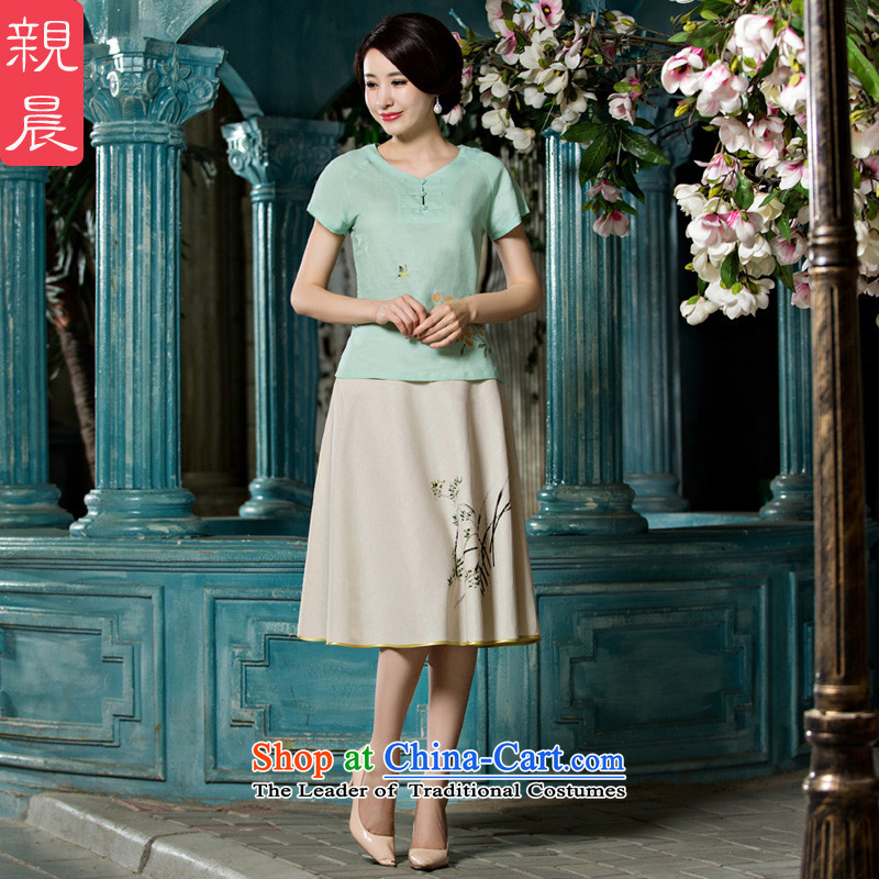 The pro-am cotton linen Tang dynasty improved daily cotton linen Chinese Han-summer 2015 new dresses qipao shirt female clothes +P0011 skirts M