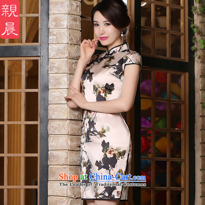 The pro-am 2015 Summer new daily improved retro skirt Fashion Sau San silk large short-sleeved qipao short,聽2XL