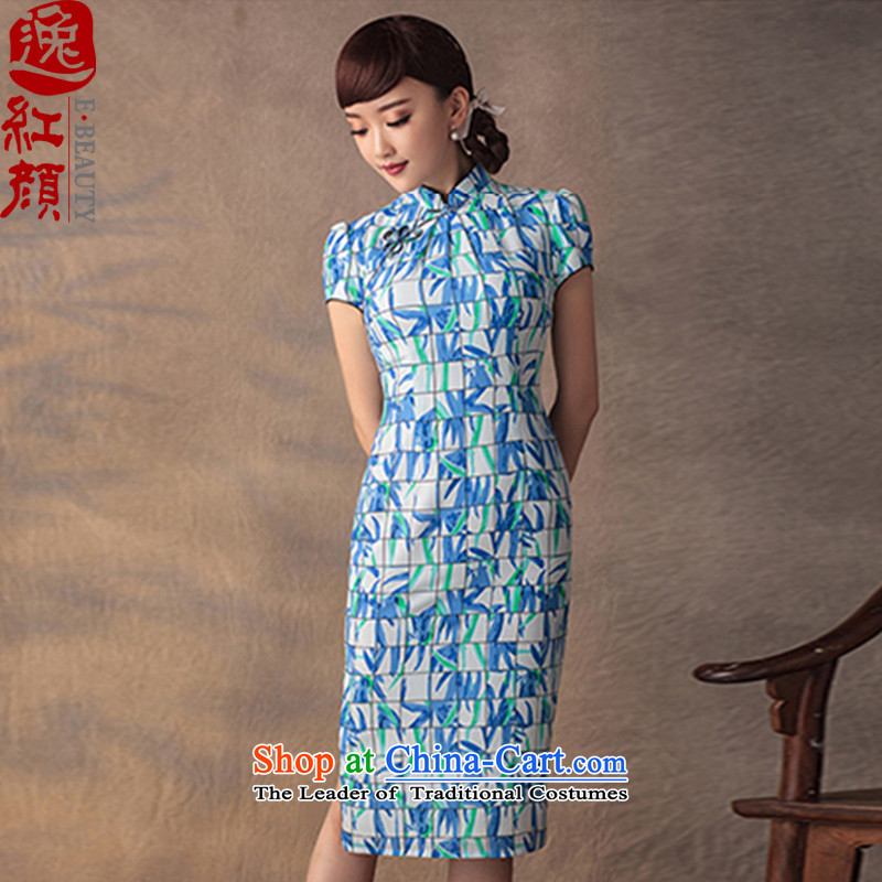 A Pinwheel Without Wind dream bamboo?2015 Yat qipao new summer retro improved zhuyeshan stamp qipao Sau San dresses blue?S