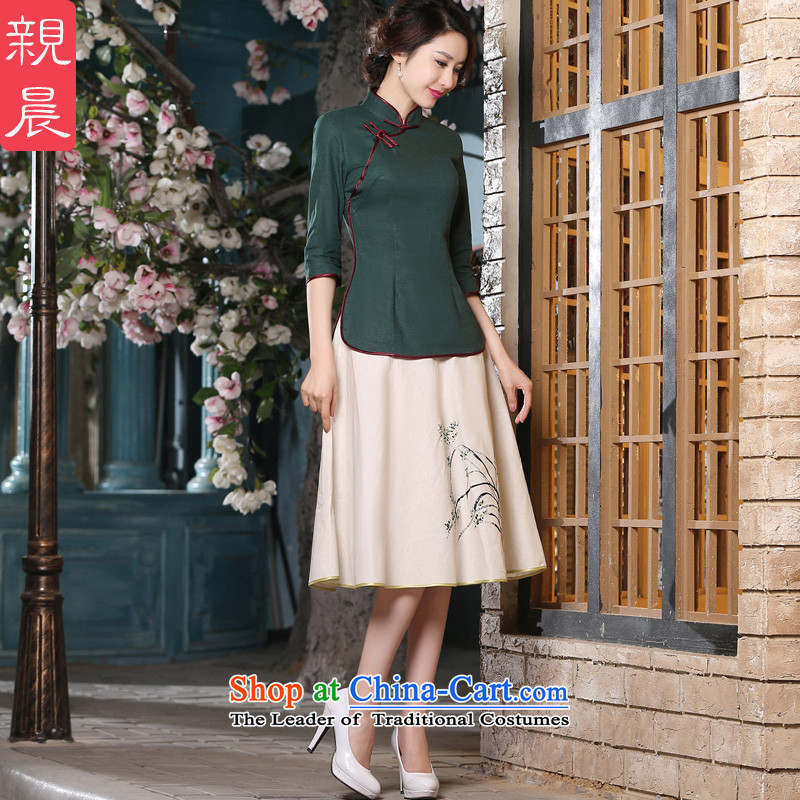 The pro-am 2015 Amoi for women in Chinese cotton linen cuff Han-Tang dynasty literary national Wind Jacket coat +P0011 cheongsam dress L