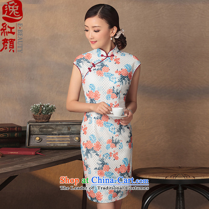 A Pinwheel Without Wind joy?2015 Yat qipao new summer retro lace cheongsam dress improved stylish stamp short of Sau San White?2XL