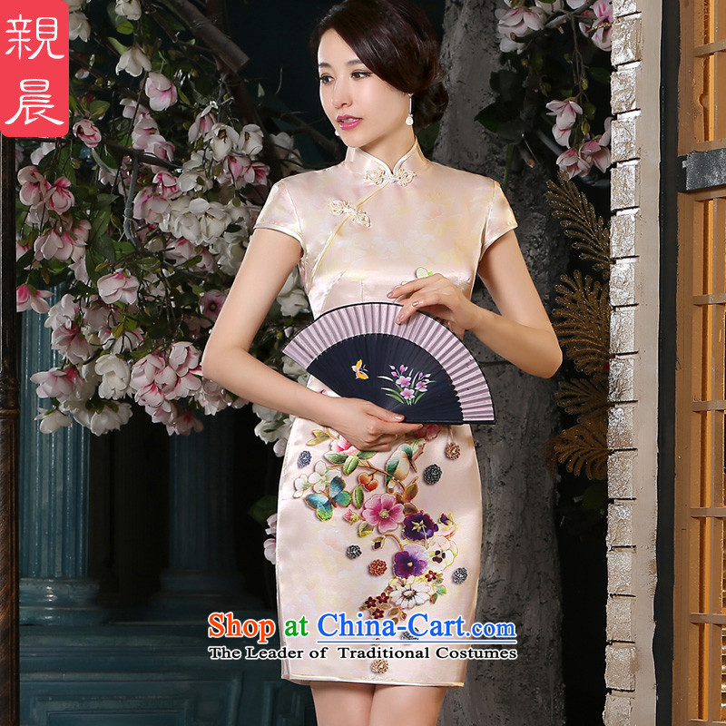 The pro-am New Silk Cheongsam short of 2015 Summer improved couture daily cheongsam dress sauna silk dresses short,?2XL