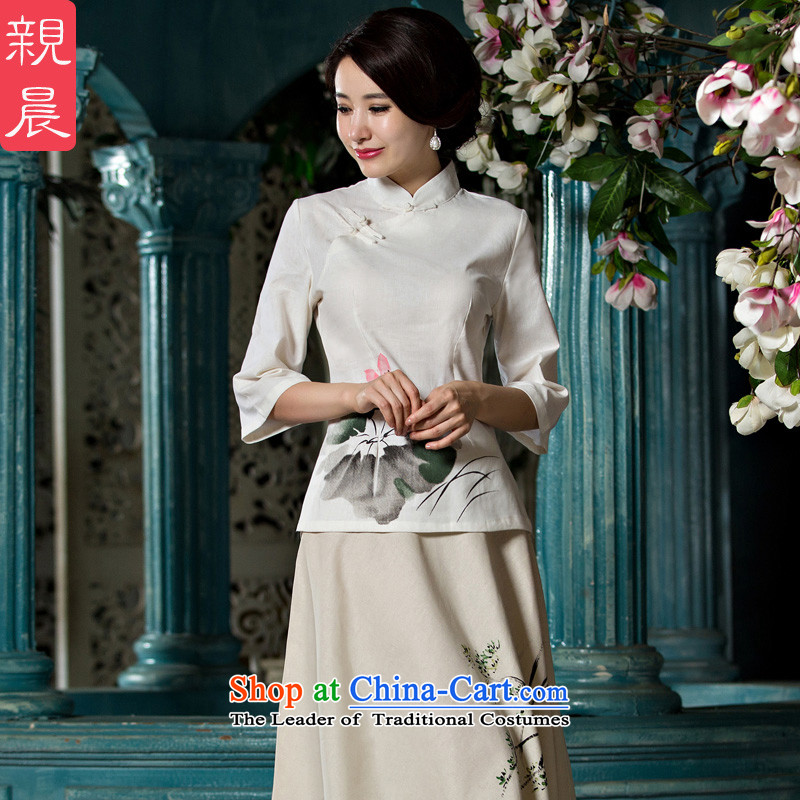 The new 2015 pro-morning cotton linen clothes female Han-qipao in summer and autumn day-to-day Chinese retro fitted Tang dynasty dresses shirt?M