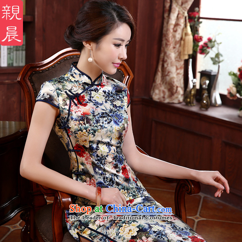 The new 2015 pro-morning daily fashion improved long silk retro upscale herbs extract Sau San cheongsam dress long M