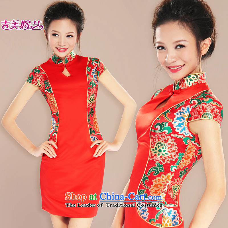 Kyrgyz-US married arts wedding dresses 2015 new package shoulder Chinese qipao Q7080 Sau San bride cheongsam red燣