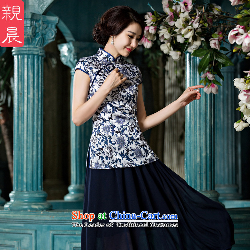 The pro-am cheongsam dress 2015 New Stylish retro-to-day improved Chinese Tang dynasty qipao shirt female summer shirt + dark blue skirt in chiffon�L