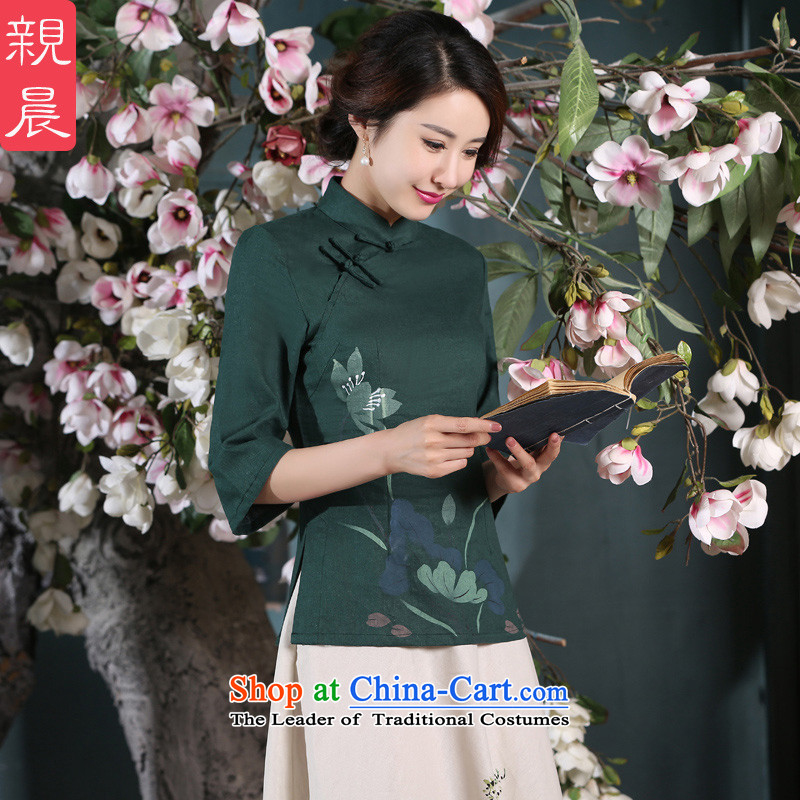 The pro-am daily new improvements by 2015 in summer and autumn in the Cuff retro China wind kit cotton linen clothes shirt�2XL Cheongsam