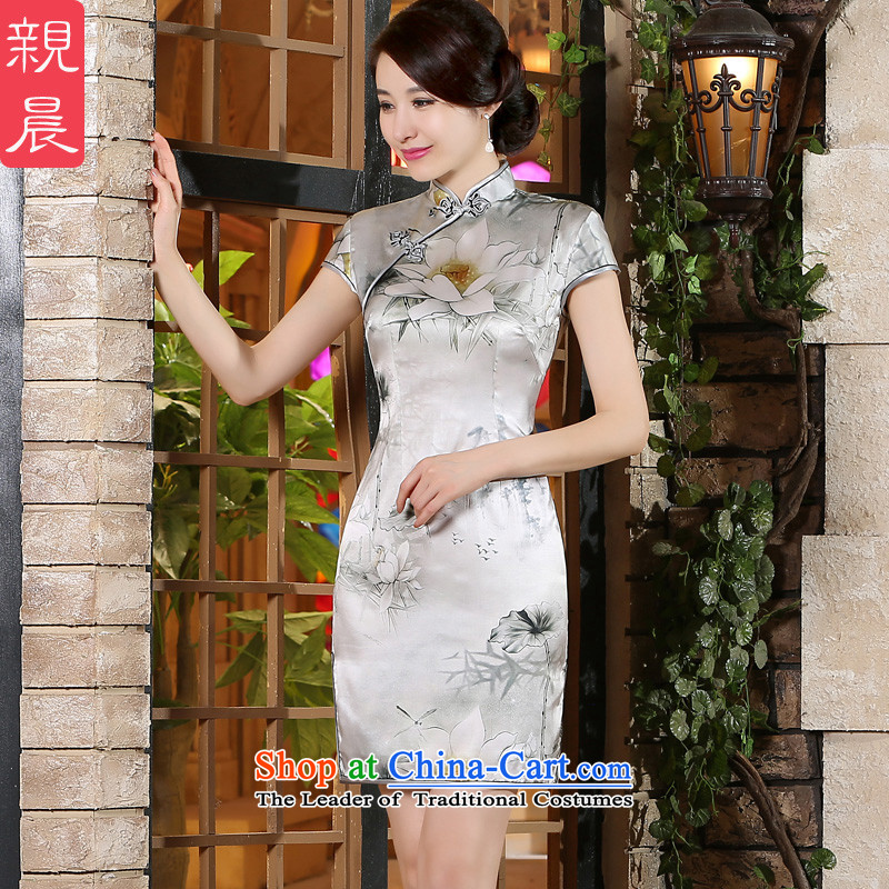 The pro-am new women's dresses skirt for summer 2015 Daily Silk Cheongsam, short skirt improved stylish herbs extract short,聽XL