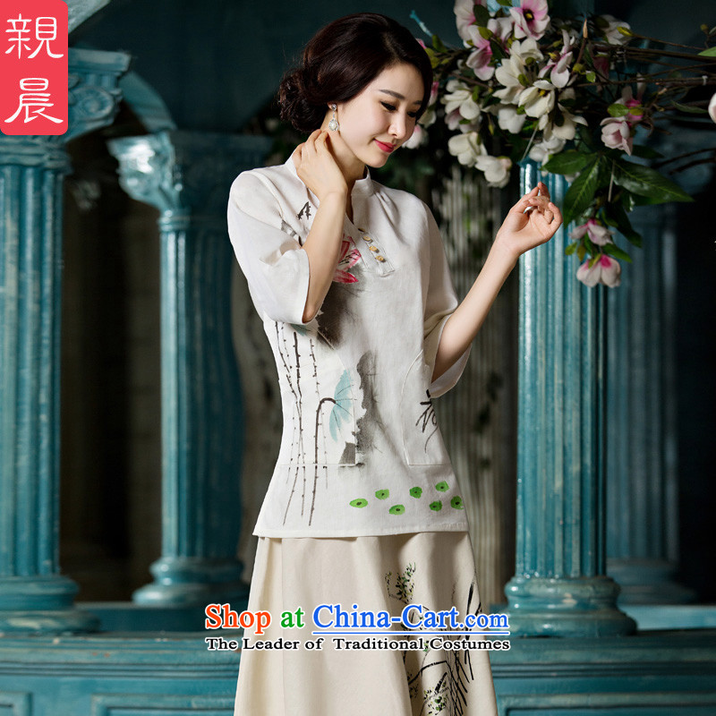 At 2015 new parent qipao shirt female in summer and autumn day-to-load improved Tang Dynasty Chinese cotton linen dresses in sleeved shirt +P0011 skirt?S