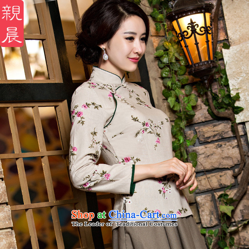 At 2015 new pro-improved stylish shirt cotton linen dresses autumn and winter female daily Chinese Tang dynasty dresses?seven days of M-T-Shirt