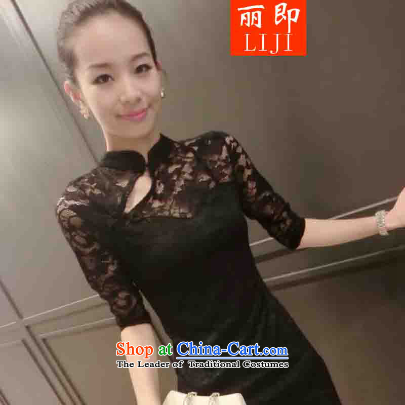 The�15 European sites Lai Chau load new lace Sau San video thin cheongsam dress black燤