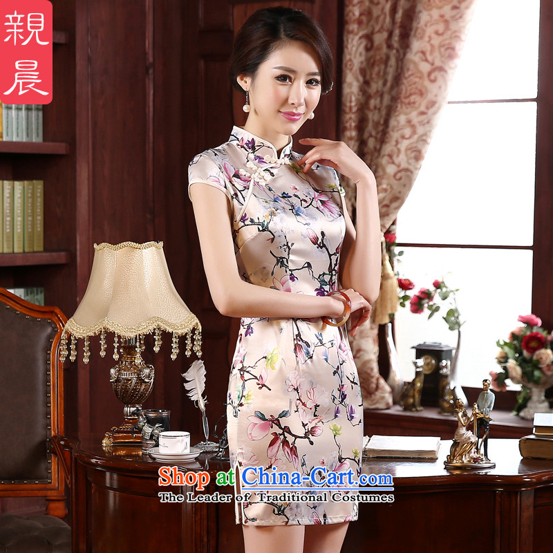 The new 2015 pro-morning spring and summer load retro style short of Sau San improved short-sleeved daily girls cheongsam dress short,?2XL
