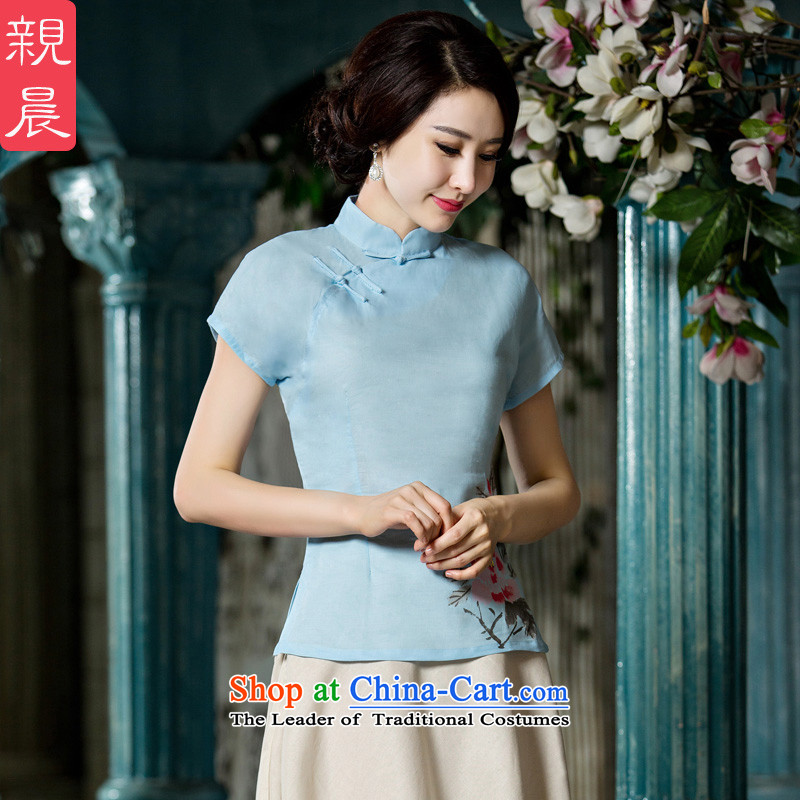 At 2015 new pro-improved stylish shirt summer qipao female Tang Dynasty Chinese daily cotton linen cheongsam dress shirt�L