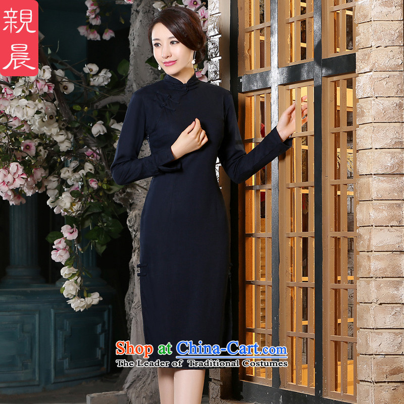 The pro-am new cheongsam dress in summer and autumn 2015 replacing retro improved fashion, long cotton linen dresses in long-sleeved long length燣