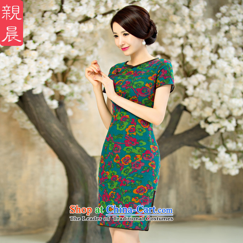 The pro-am daily new improvements by 2015 cheongsam dress Ms. Stylish retro summer short, short-sleeved cheongsam dress short,?2XL