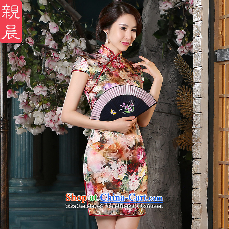 The pro-am New Silk Cheongsam dress 2015 Summer improved daily female qipao stylish, short skirt herbs extract short,聽2XL