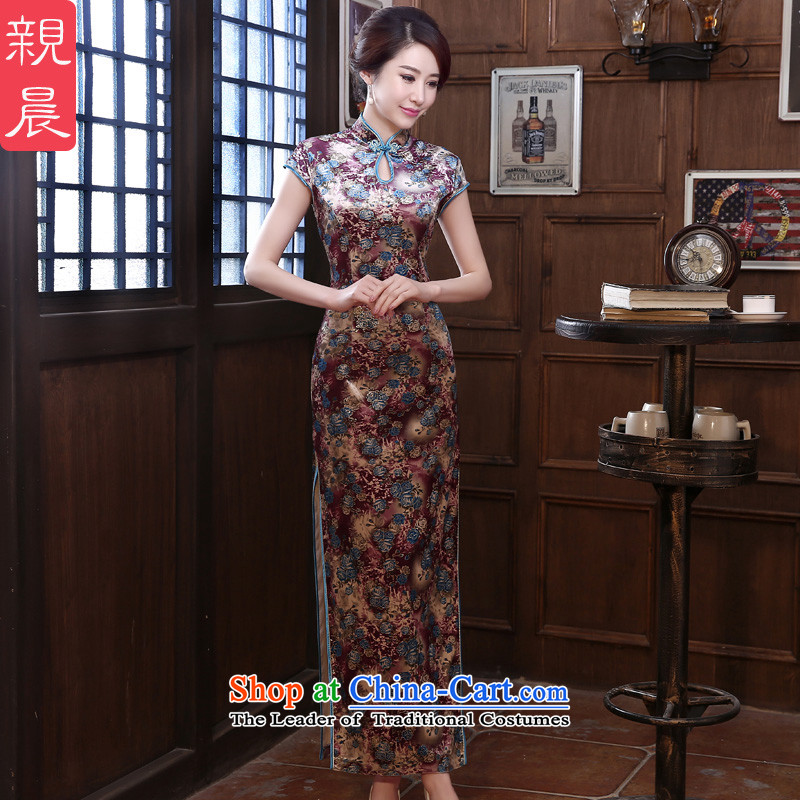 The wedding-dress wedding upscale Kim scouring pads cheongsam dress long mother load new summer and fall of 2015 long?XL