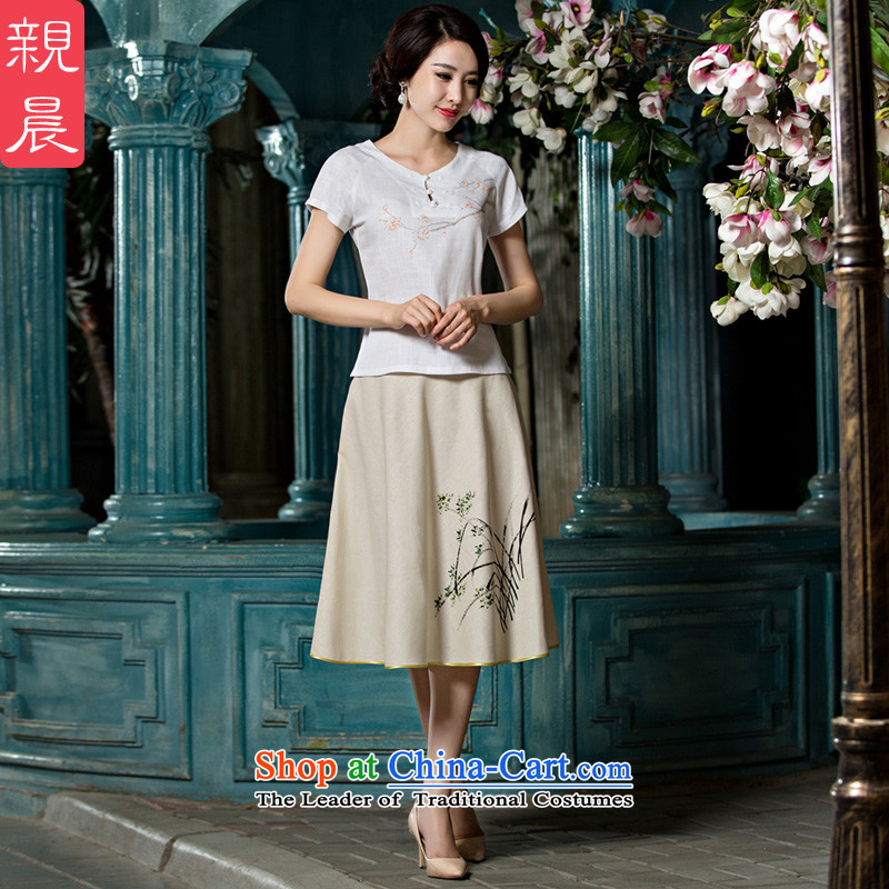 The pro-am pro-am daily new 2015 ethnic Han-short-sleeved T-shirt qipao improved cotton linen, Ms. Tang dynasty summer shirt +P0011 skirts聽M
