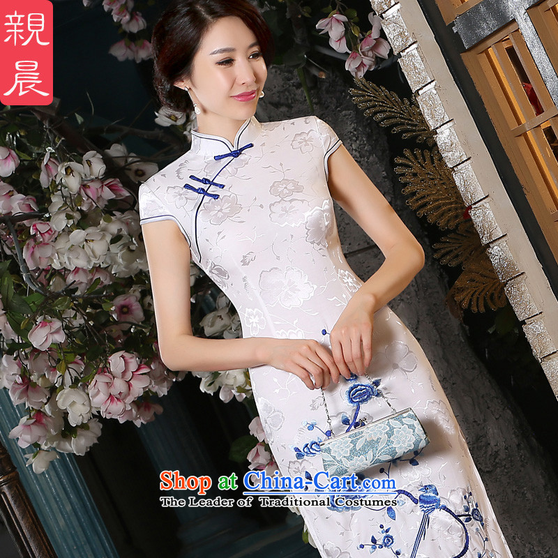 The pro-am porcelain cotton qipao new 2015 summer daily improvement in the medium to long term, Sepia cheongsam dress short of women?S