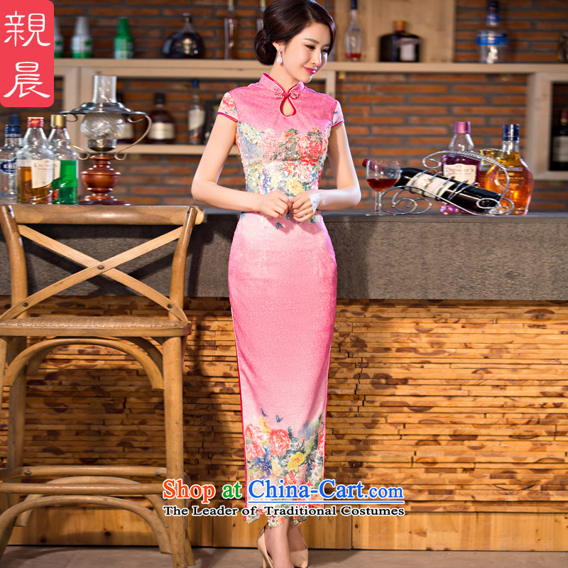At 2015 new pro-style qipao daily dress improved Ms. summer long short-sleeved retro cheongsam dress long?L