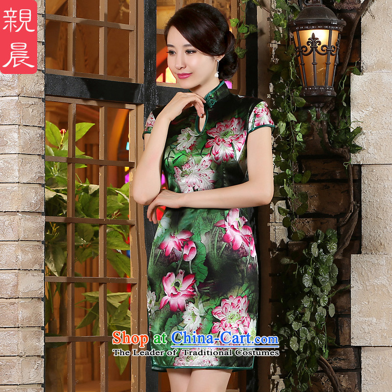 The pro-am New Silk Cheongsam dress 2015 Summer improved daily herbs extract short Fashionable dresses, female short聽M