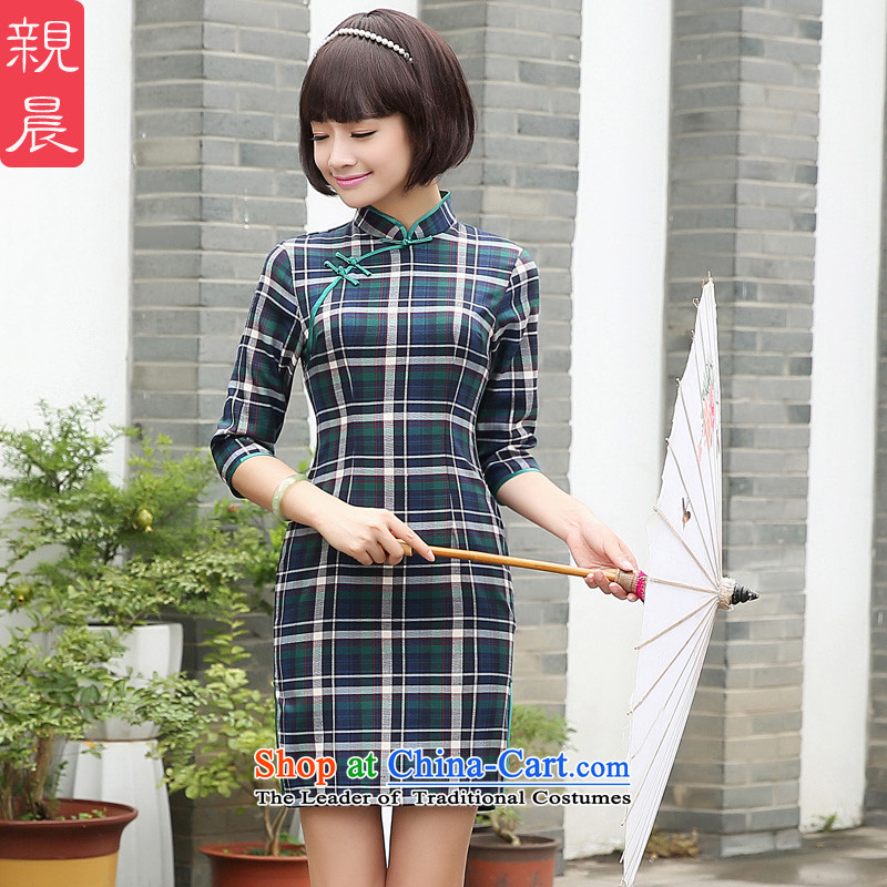 At 2015 new pro-chiu summer traditional feel daily short Grid_ cuff improved Sau San cheongsam dress short,�L