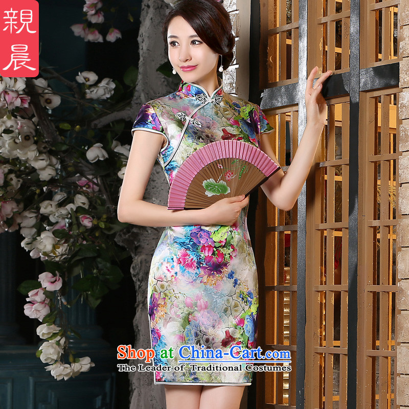 The pro-am New Silk Cheongsam dress 2015 Summer improved daily herbs extract qipao stylish short of Female dress suit?2XL