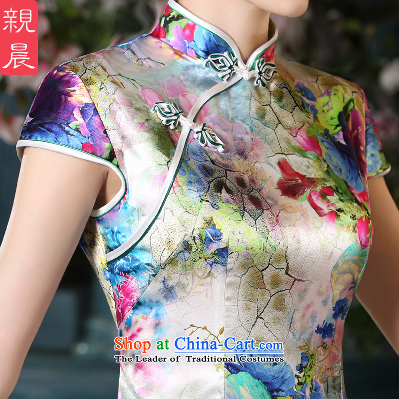 The pro-am New Silk Cheongsam dress 2015 Summer improved daily herbs extract qipao stylish short of Female dress suit聽2XL, pro-am , , , shopping on the Internet